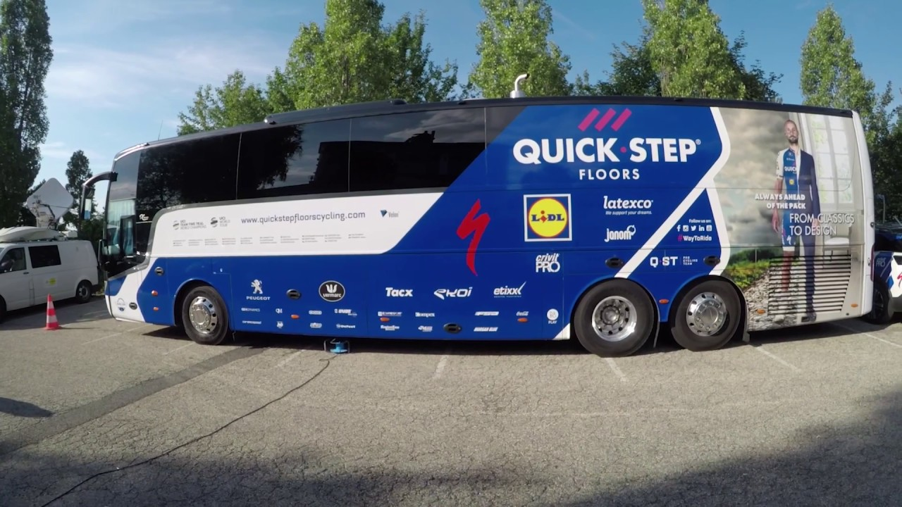 inside the quick step floors team bus at the tour de france youtube. Black Bedroom Furniture Sets. Home Design Ideas