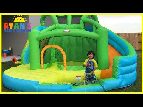 GIANT INFLATABLE SLIDE for kids Little Tikes 2 in 1 Wet 'n Dry Bounce Children play center
