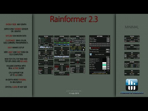Rainformer V2.3 HWiNFO Edition : In-depth Tutorial : Rainmeter Skin : System Monitoring
