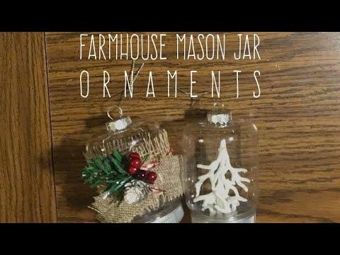 DIY Dollar Tree Farmhouse Mason Jar Ornaments