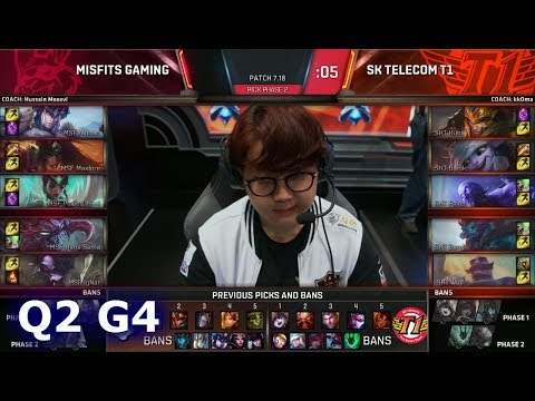 SK Telecom T1 vs Misfits | Game 4 Quarter Finals S7 LoL Worlds 2017 | SKT vs MSF G4