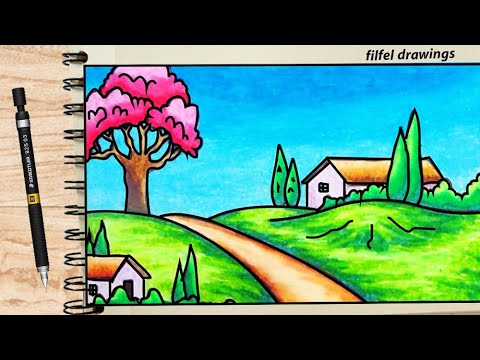 Beautiful Scenery Scenery Drawing Nature Drawing Easy Drawing Of Nature Youtube
