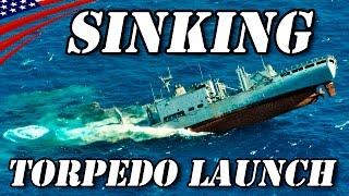 魚雷発射 & 標的艦轟沈 (Mk32 短魚雷発射管) - Torpedo Launch & Target Ship Sinking (Mk 32 SVTT)