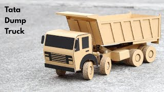 How To Make RC Tata Dump Truck From Cardboard || Tata 8 Wheeler Truck || Very Simple DIY