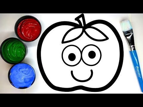 Painting Cute Apple Painting Pages, Learn Painting and to Color for Baby  💜 (4K)
