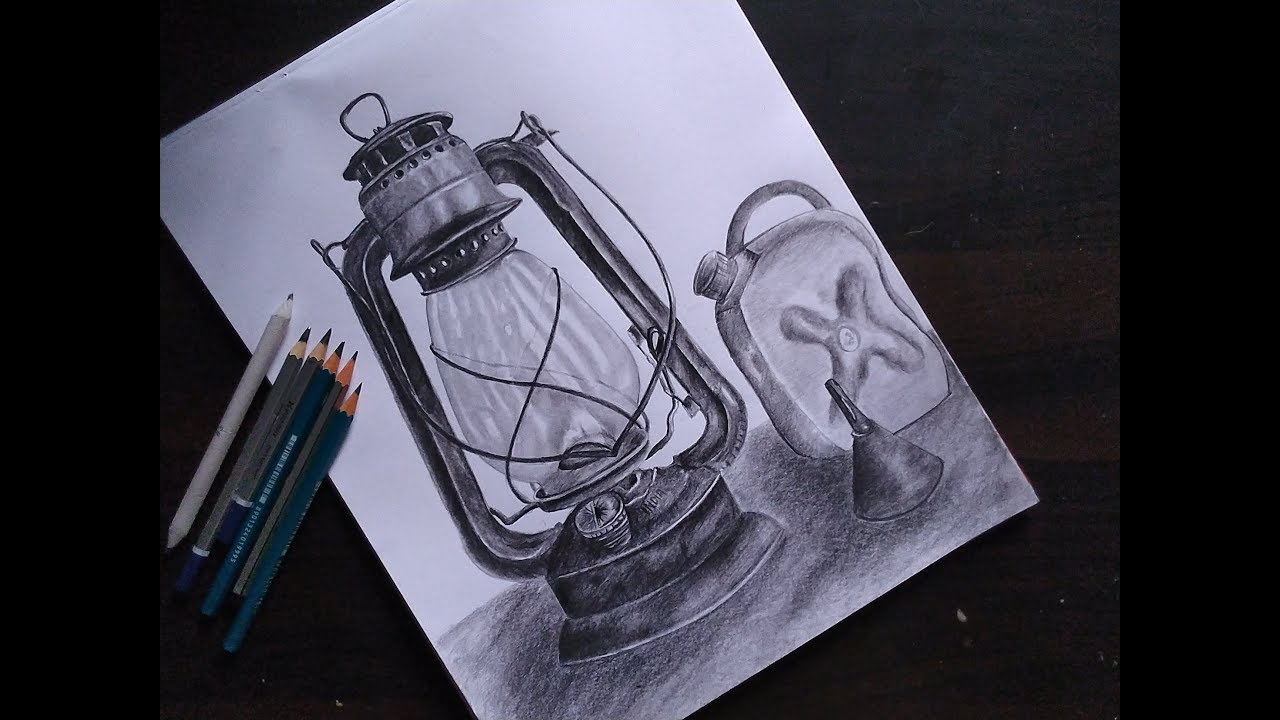 Still Life Drawing Old Lantern Lamp Drawing Hurricane Lamp Pencil Sketch Youtube