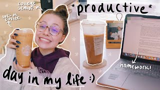 COLLEGE DAY IN MY LIFE: being productive, in-person class, lots of homework, new coffee order & more