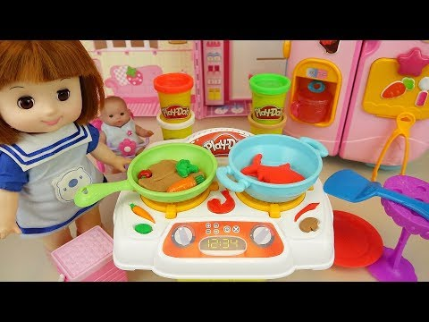 Play Doh cooking and ba doll kitchen play