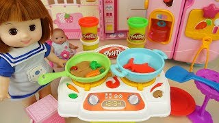 Play Doh cooking and baby doll kitchen play