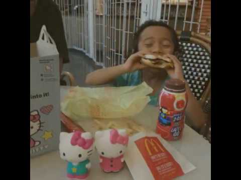 Fiyouna enjoy with happy meal at commerce place Edmonton downtown.