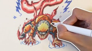 Naruto: Drawing Naruto One Tailed Beast Mode (九喇嘛チャクラモード)