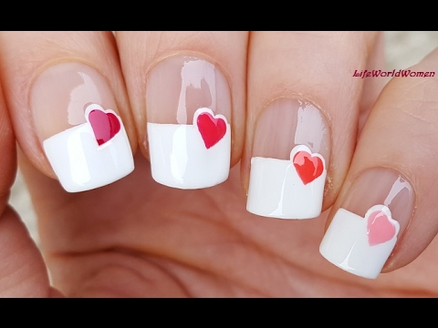 Wide French Manicure With Heart Nail Design