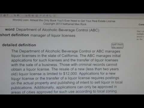 Department Of Alcoholic Beverage Control (ABC) CA Real Estate License Exam VocabUBee.com
