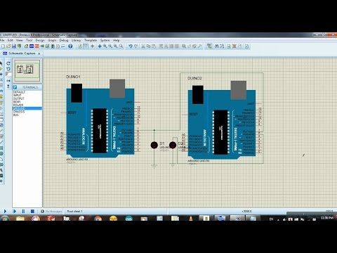 Connecting two arduinos using switching method - Arduino Proteus Simulation  tutorial # 23