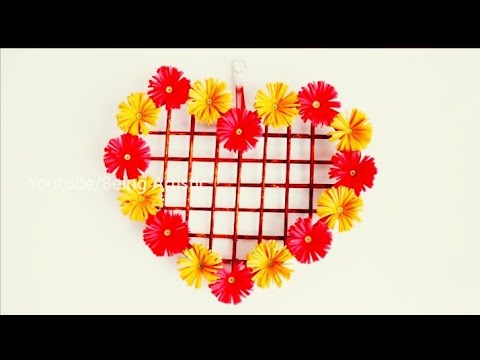 💓 Simple paper heart wall hanging- simple wall decoration ideas -  PAPER CRAFT / FLAYING CRAFT