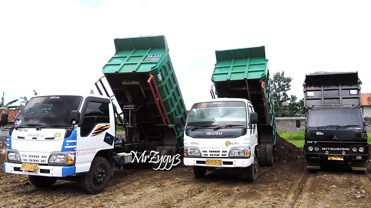 Dump Trucks Isuzu ELF HD Mitsubishi Colt Diesel Unloading Dirt   YouTube