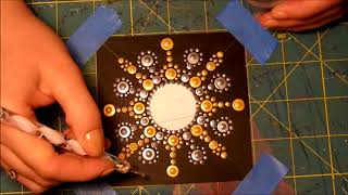 How to paint dot mandalas on cardboard paper (Silver-Gold)