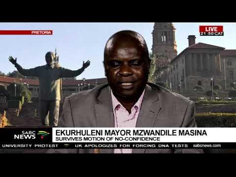 Motion of no confidence in Ekurhuleni Mayor:  Levy Ndou