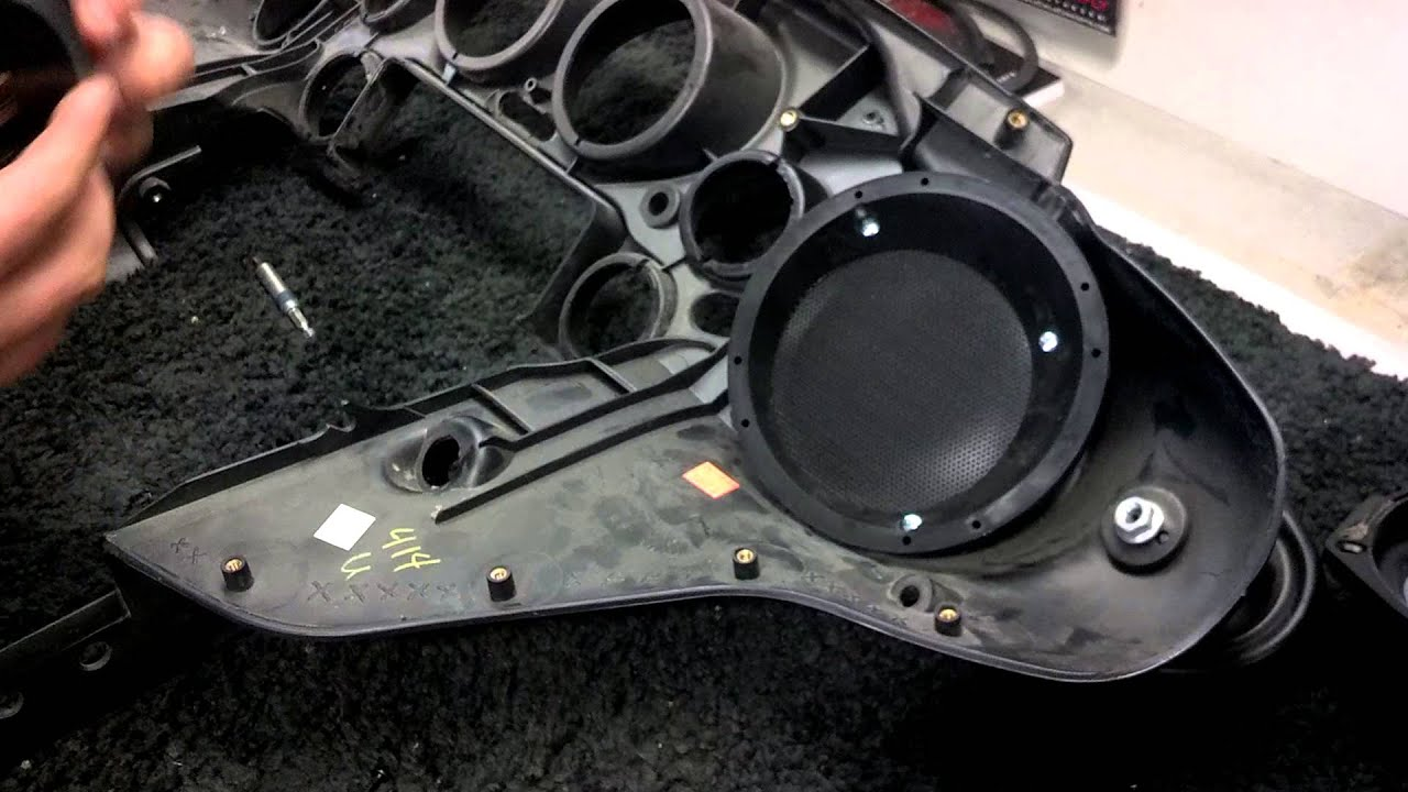 Mounting 6.5 inch speaker adapters in a Harley - YouTube