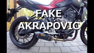 "Yamaha MT/FZ 07 - 2016 - Exhaust comparison - Homemade Aliexpress ""Fake Akrapovic"" exhaust, Wheelie"