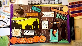 разворот в личном дневнике Хэллоуин /Блокнот творческого человека/ Halloween