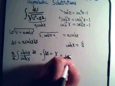 Integration With Hyperbolic Substitution Example 1 Youtube
