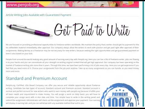 Article Writing Jobs with Guaranteed weekly payments