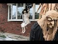 Scary Halloween decoration: Zombie girl on a swing!