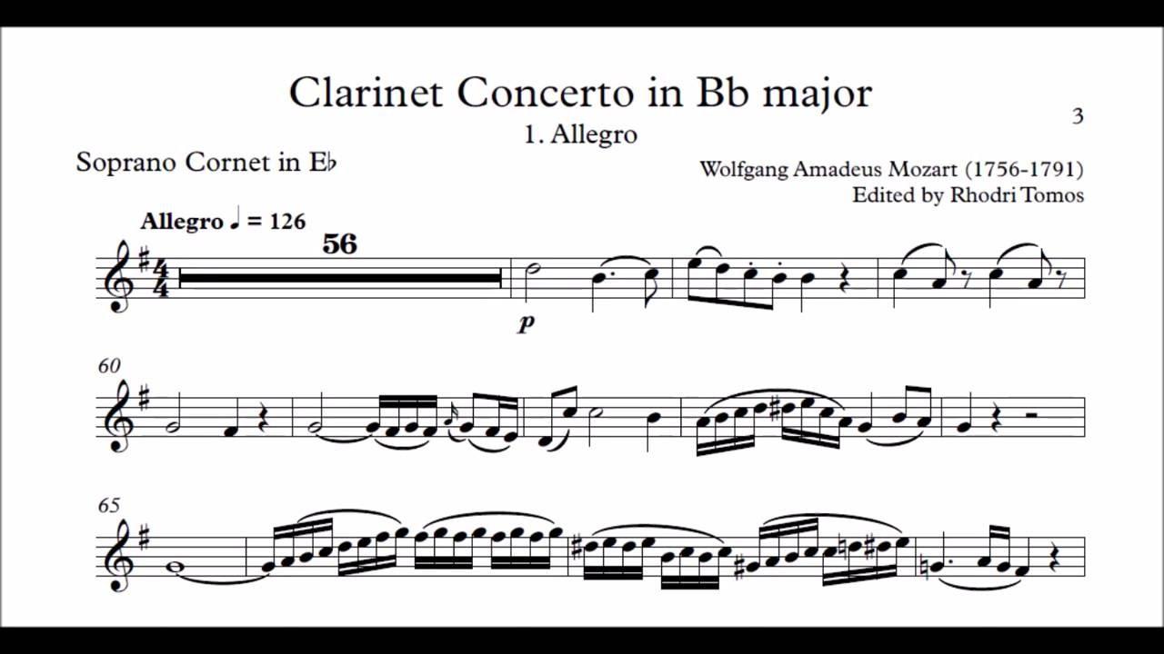 Mozart Clarinet Concerto Bb Major Version K622 1 Allegro Accompaniment Sheet Music
