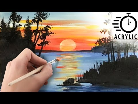 TIMELAPSE How to paint Sunset LANDSCAPE with Acrylic! Tutorial for Beginners! EASY