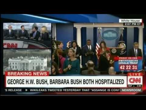 President George Bush and Barbara Bush both in Hospital