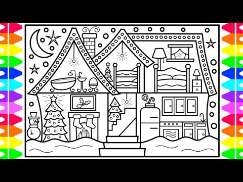How to Draw a Christmas House with Decorations 🎄❤️💚Christmas Drawing and Coloring Pages for Kids