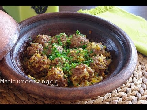 tajine de boulette de viande au riz meatball and rice tagine youtube. Black Bedroom Furniture Sets. Home Design Ideas