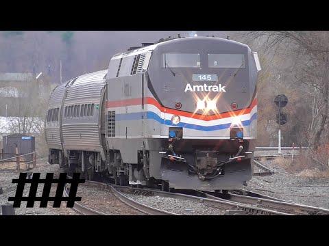 Amtrak Phase III Heritage Unit #145 Stops At Huntingdon Station