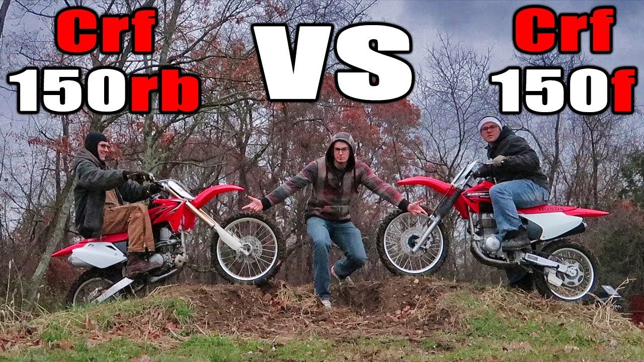 crf150r vs crf150f race wheelies jumps sound review