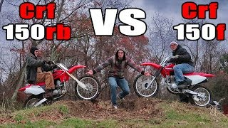 Crf150r VS Crf150f ! (Race, Wheelies, Jumps, Sound, Review)