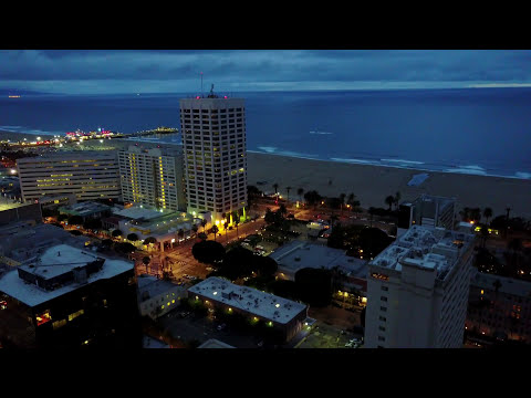 Santa Monica Night Time From Sky