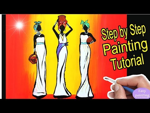 How to paint AFRICAN WOMEN. Africa Art Painting Tutorial Step by Step in acrylic for beginners