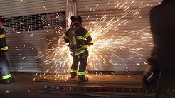 FDNY SAW ACTION !! FDNY uses saws to force entry as they attempt to locate a FIRE.