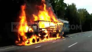 Фура сгорела дотла на окружной в Калуге