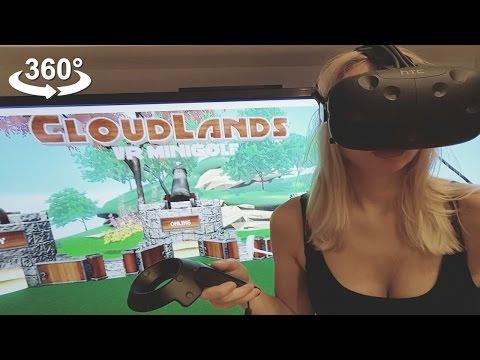 Playing VIVE HTC Virtual reality headset, Minigolf, VR 360 camera