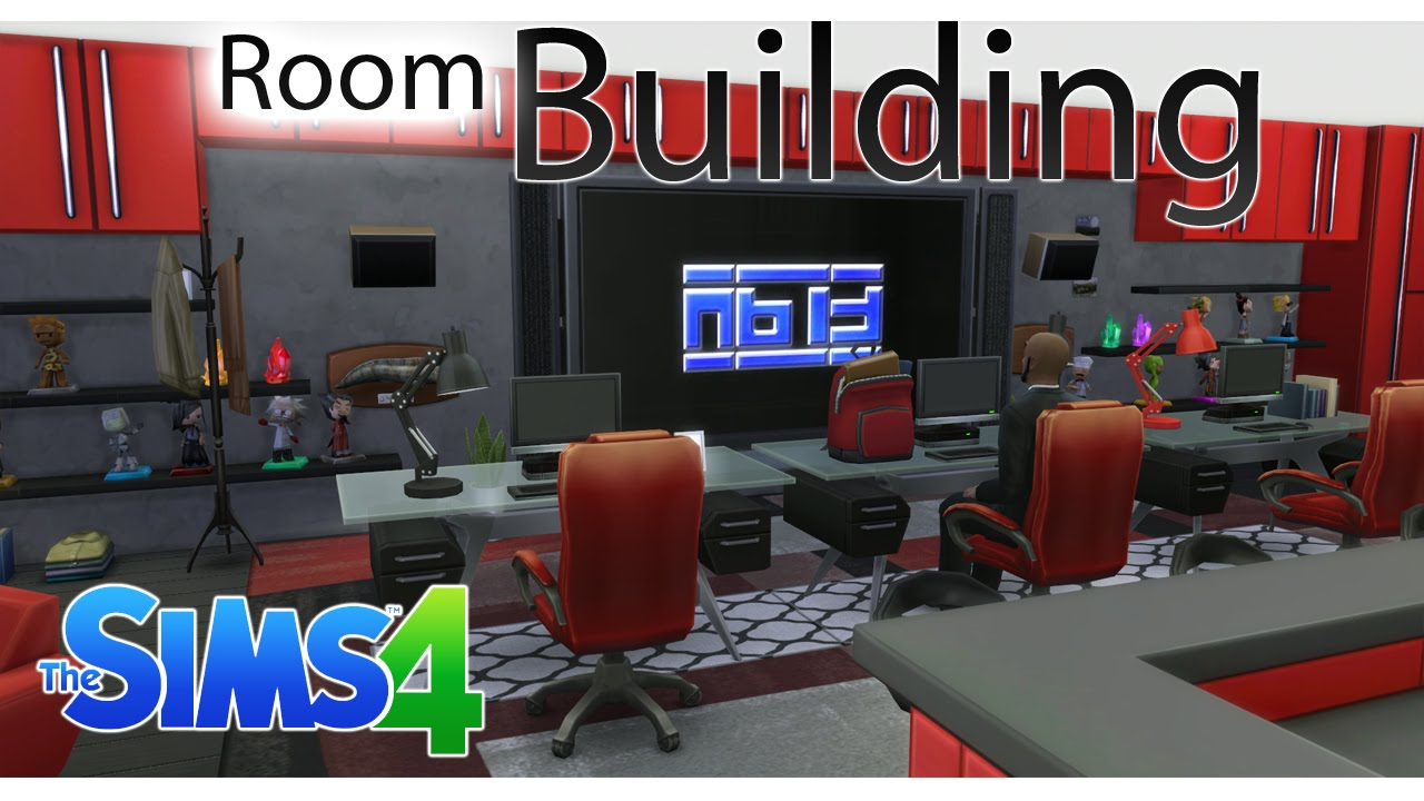 the sims 4 #roombuildingchallenge 4 - man cave/red + black games