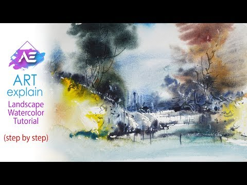 Simple Transparent Watercolor Landscape Painting Tutorial | Art Explain