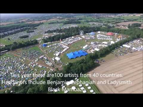 Aerial views of WOMAD 2017 at Malmesbury, Friday morning