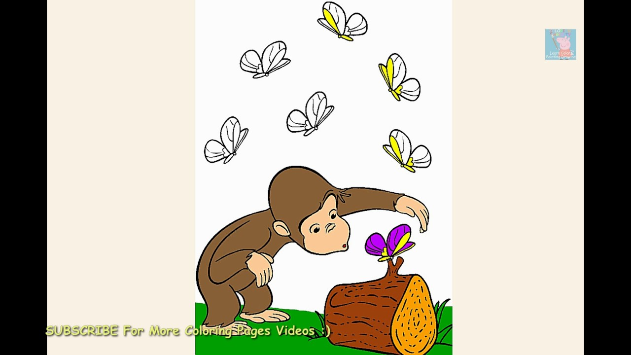 curious george monkey and butterflies coloring page youtube