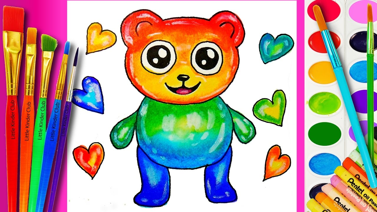 learn how to draw a giant gummy bear coloring page for kids watercolor painting