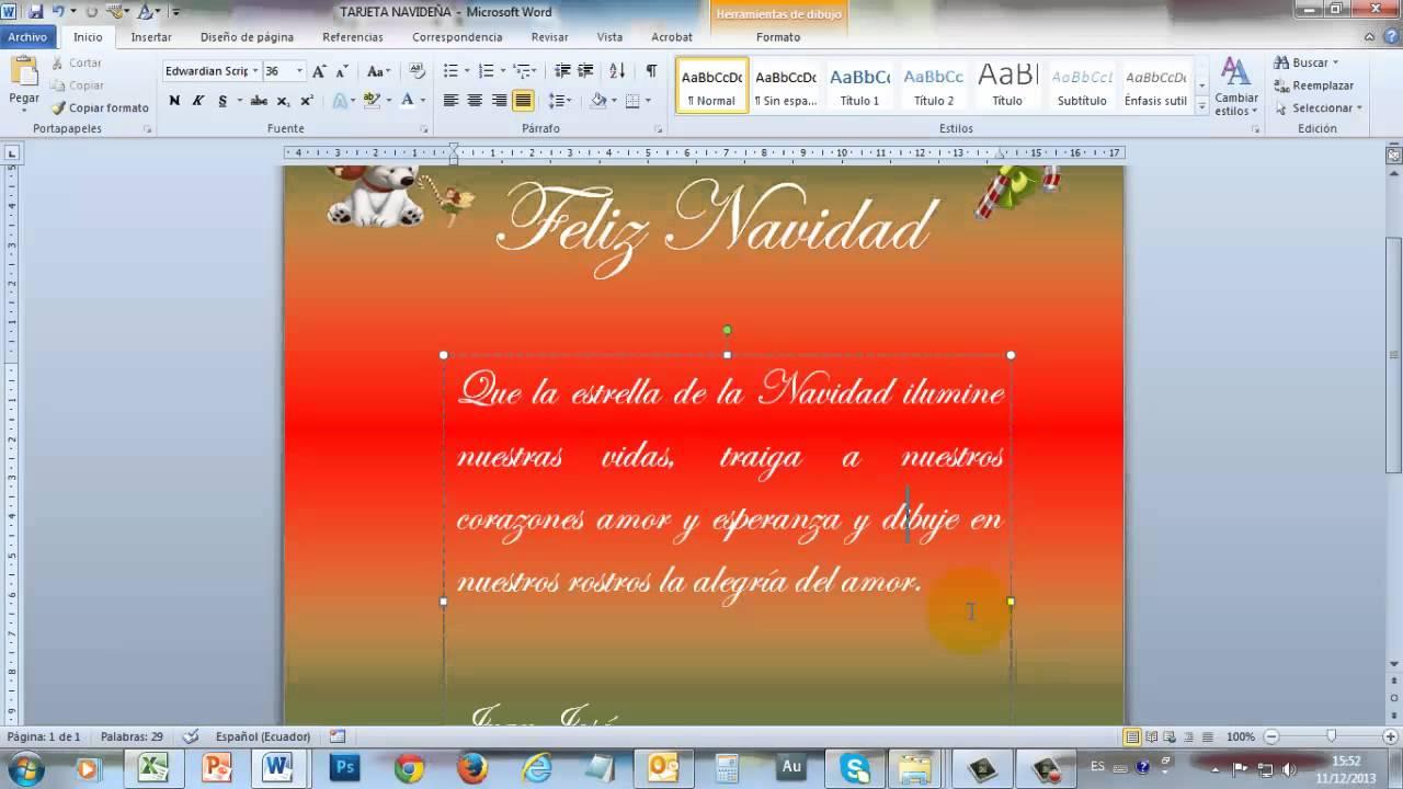 Tarjeta navide a en word 2010 part2 youtube - Hacer una tarjeta navidena ...