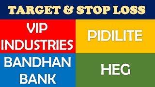 Vip Industries Pidilite Bandhan Bank HEG share analysis | Technical analysis stock target stop loss
