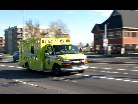 Urgences-Santé Ambulances Responding Code 3 To Calls In The West Island Area Of Montréal, QC.
