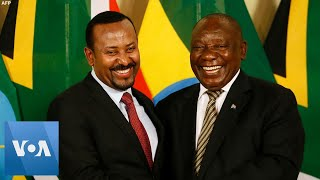 South Africa's Ramaphosa Welcomes Ethiopian Prime Minister Abiy Ahmed in Pretoria